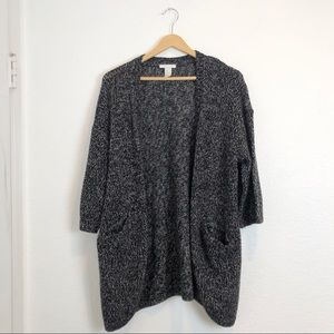 H&M black gray white mixed knitted cardigan